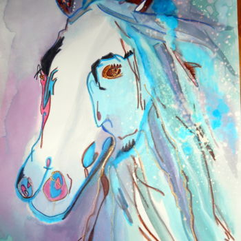"""Drawing titled """"le-cheval-aux-yeux-…"""" by Mysane, Original Art, Ink"""
