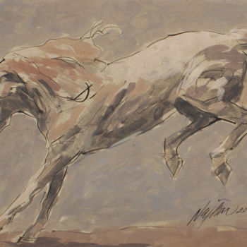 """Painting titled """"Cheval galopant"""" by Hassan Najim, Original Art, Acrylic"""