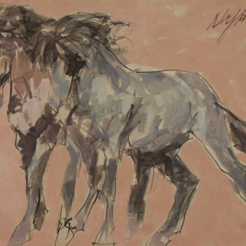 """Painting titled """"chevaux 1"""" by Hassan Najim, Original Art, Acrylic"""