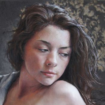 Feminine Drawing, pastel, figurative, artwork by Nathalie Picoulet