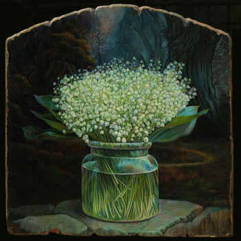 """Painting titled """"Lilies of the valle…"""" by Sergey Lesnikov, Original Art, Oil"""