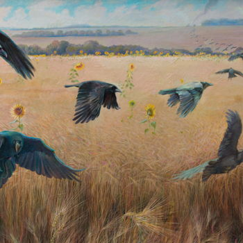 """Painting titled """"Wheatfield with cro…"""" by Sergey Lesnikov, Original Art, Oil"""
