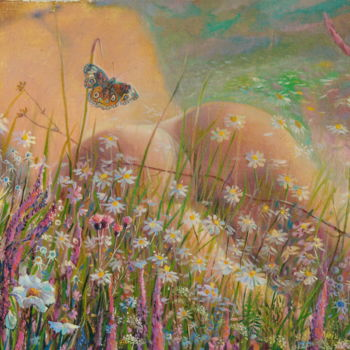 """Painting titled """"July butterflies"""" by Sergey Lesnikov, Original Art, Oil"""