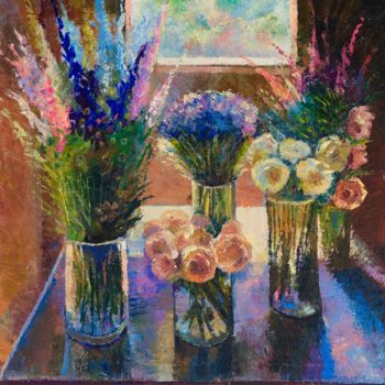 """Painting titled """"Flowers by the wind…"""" by Sergey Lesnikov, Original Art, Oil"""