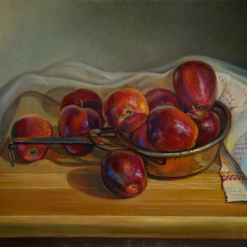 """Painting titled """"Red apples"""" by Sergey Lesnikov, Original Art, Oil"""