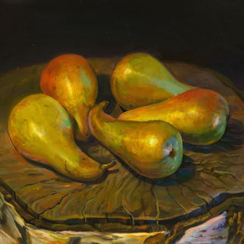 """Painting titled """"Pears"""" by Sergey Lesnikov, Original Art, Oil"""
