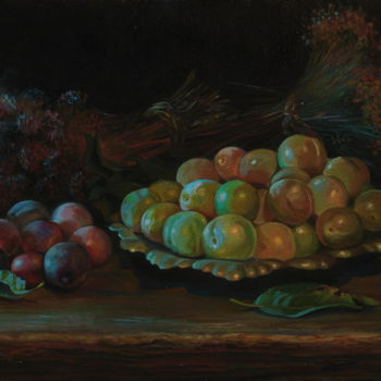 """Painting titled """"Plums 2"""" by Sergey Lesnikov, Original Art, Oil"""