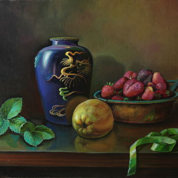 """Painting titled """"Still life with gre…"""" by Sergey Lesnikov, Original Art, Oil"""