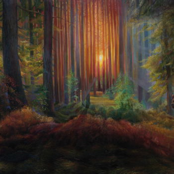 """Painting titled """"Deep in the woods"""" by Sergey Lesnikov, Original Art, Oil"""