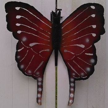 """Sculpture titled """"Butterfly - Red"""" by Notorious Ron, Original Art, Metals"""