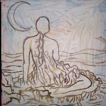 """Painting titled """""""" Siren by the sea """""""" by Oscar Galvan, Original Art,"""