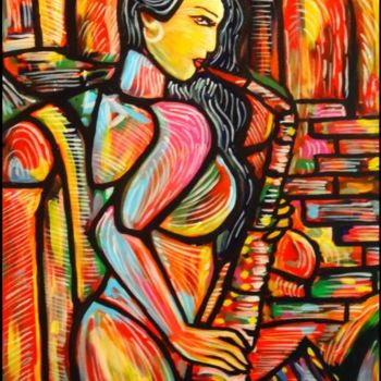 Painting, oil, expressionism, artwork by Oscar Galvan