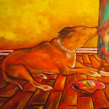 """Painting titled """"""""Daisy in the Studi…"""" by Oscar Galvan, Original Art,"""