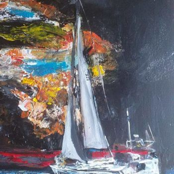 Boat Painting, acrylic, figurative, artwork by Pascale Perrillat