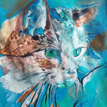 Cat Painting, acrylic, abstract, artwork by Pascale Perrillat
