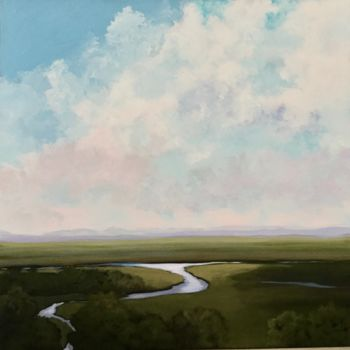 """Painting titled """"Winding River 30x30…"""" by Pam Carlson, Original Art, Acrylic"""