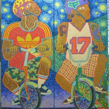 """Painting titled """"""""The Night-Riders"""""""" by Paul Arenas, Original Art,"""