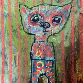 """Collages titled """"Simple kitty 4"""" by Pavel Kuragin, Original Art, Acrylic"""