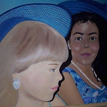 """Painting titled """"Dressed Up in Blue"""" by Drapala Gallery, Original Art, Oil"""