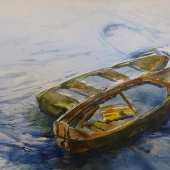 """Painting titled """"Les 3 barques inond…"""" by Pierre Feyeux, Original Art, Oil"""