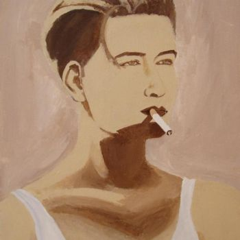 """Painting titled """"Girl with a cigaret…"""" by Piotr, Original Art,"""