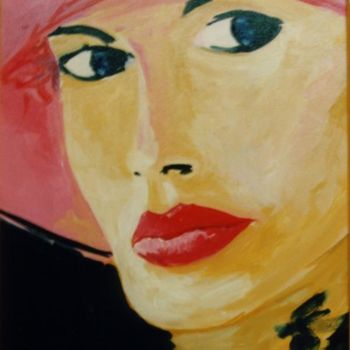 """Painting titled """"Lady in a red hat"""" by Piotr, Original Art,"""