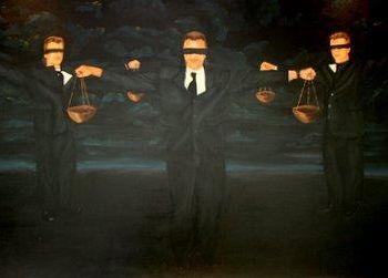 """Painting titled """"Scales of justice"""" by Piotr, Original Art,"""