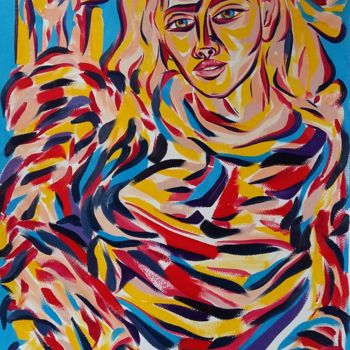 Fashion Painting, oil, expressionism, artwork by Riina Sirel
