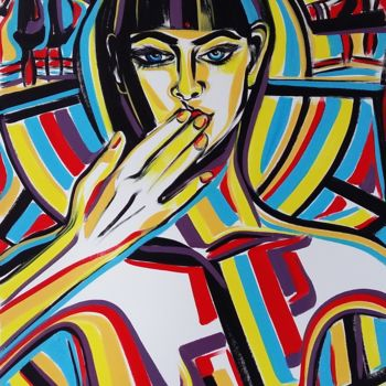 Women Painting, oil, expressionism, artwork by Riina Sirel