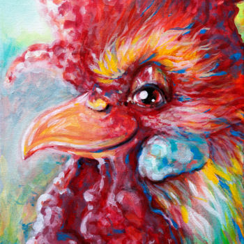 """Painting titled """"Betty's Cockerel"""" by River E. C. Darling, Original Art, Acrylic"""