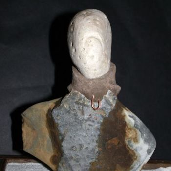"""Sculpture titled """"Girl with a Mink Co…"""" by Robin Mols, Original Art, Stone"""