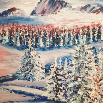 """Painting titled """"Montage rosée"""" by Roxane Lucas, Original Art, Acrylic"""