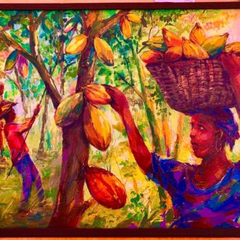 """Painting titled """"Récolte de cacao"""" by Mominet Sadia Roland, Original Art, Acrylic"""