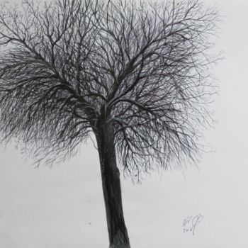 """Drawing titled """"Winter Tree # 2"""" by Shahriar Aghakhani, Original Art, Ink"""