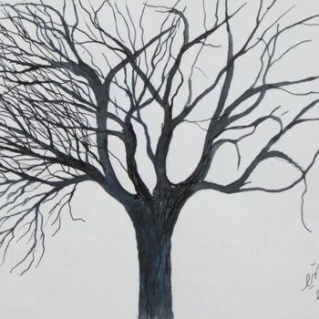 """Drawing titled """"Winter Tree No. 8"""" by Shahriar Aghakhani, Original Art, Ink"""