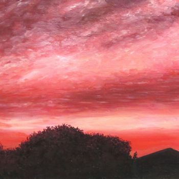 """Painting titled """"Sunset in Palm Spri…"""" by Shahriar Aghakhani, Original Art, Oil Mounted on Wood Panel"""