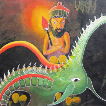 """Painting titled """"The Chief of the He…"""" by Shahriar Aghakhani, Original Art, Watercolor"""