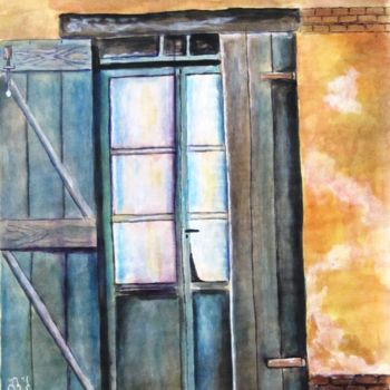 """Painting titled """"Old door"""" by Shahriar Aghakhani, Original Art, Watercolor"""