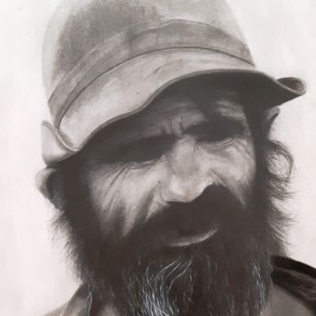 """Drawing titled """"An old man"""" by Shahriar Aghakhani, Original Art, Pencil"""