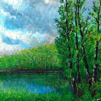 """Painting titled """"Cloudy Spring"""" by Shahriar Aghakhani, Original Art, Acrylic"""