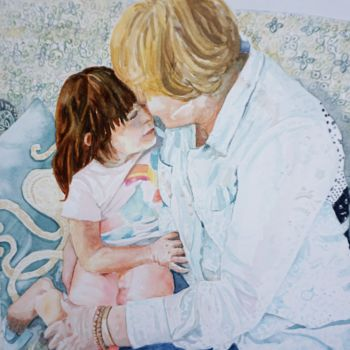 """Painting titled """"Adoration - Brookly…"""" by Scally Art, Original Art, Watercolor"""