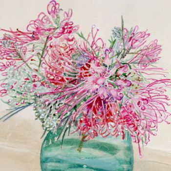 """Painting titled """"Grevillea in Green…"""" by Scally Art, Original Art, Watercolor"""
