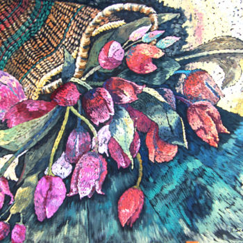 """Painting titled """"Basket of Tulips"""" by Scally Art, Original Art, Acrylic"""