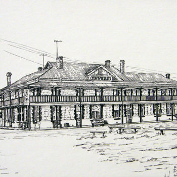 """Painting titled """"Dumbleyung Tavern"""" by Scally Art, Original Art, Ink"""