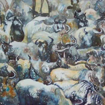 """Painting titled """"Wilderbeast Patterns"""" by Scally Art, Original Art, Oil"""