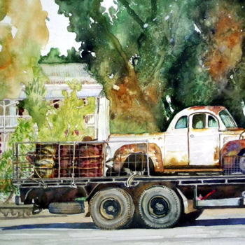 """Painting titled """"Aged Beauties in Du…"""" by Scally Art, Original Art, Watercolor"""