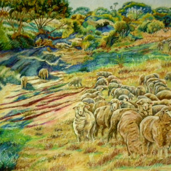 """Painting titled """"Sheep in the Creek…"""" by Scally Art, Original Art, Pastel"""