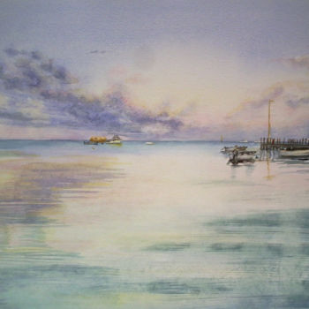 """Painting titled """"Leeman Jetty Wester…"""" by Scally Art, Original Art, Watercolor"""