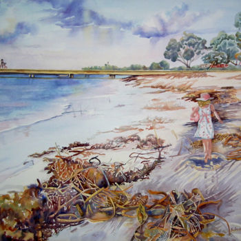"""Painting titled """"Happiness at Leeman…"""" by Scally Art, Original Art, Watercolor"""