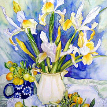 """Painting titled """"Dutch Iris with Cum…"""" by Scally Art, Original Art, Watercolor"""